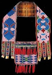 Bandolier bag -Beadwork on leather -Lenape (Delaware tribe, Eastern Woodlands).  -c. 1850 C.E.  function: functional and beautiful, crossbody bag to carry things context: