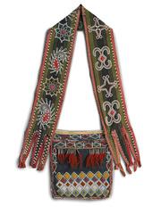 Bandolier bag. Lenape (Delaware tribe) 1850. ce. beadwork on leather