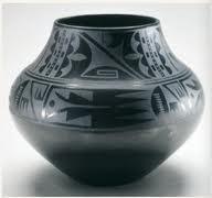 black on black ceramic vessel, Maria Martinez and Julian Martinez, Tewa, Puebloan, San Ildefonso Pueblo, New Mexico. mid 20th century. Blackware ceramic.