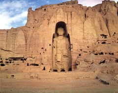 Buddha. Bamiyan, Afghanistan. Gandharan. 400-800 ce. cut rock with plaster and polychrome paint.....destroyed in 2001