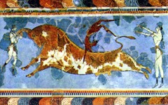 Bull Leaping, from the palace complex at Knossos, Crete, c. 1500-1450 BCE, fresco  (Minoan Art)