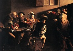 Calling of Saint Matthew Caravaggio. c. 1597-1601 C.E. Oil on canvas Caravaggio depicts the very moment when Matthew first realizes he is being called. This was Caravaggio's first important job and the completed work would win him the highest of praise as well as the harshest of criticism for its shockingly innovative style.