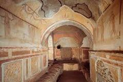 Catacomb of Priscilla Rome, Italy. Late Antique Europe. c. 200-400 ce excavated tufa and fresco