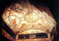 Catacomb of Prsicilla. Early Europe and Colonial Americas. Rome, Italy. Late Antique Europe. c. 200-400CE. Excavated tufa and fresco Form: tufa, bodies:covered in shroud, rooms cubiculum Function: lots of people buried here, frescos for the dead and living Content: depiction of miracles, four seasons, symmetrical between earth and heaven, first images of madonna and child, god looking over dead and living Context: priscilla donated land, Constantine leaglizes Christianity, seperate from paganism