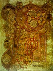 Chi Rho Iota Page from the Book of Kells, c. 800 CE, manuscript illumination  (Hiberno-Saxon Art)