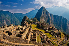 City of Machu Picchu -Granite (architectural complex). -Central highlands, Peru. Inka.  -c. 1450-1540 C.E.  function: built as a royal retreat for the first Inka emperor, Pachacuti Inka Yupanqui, in the 15th century, on a mountain saddle overlooking the Urumbamba River in Peru  context: This was a place where the emperor and his family could host feasts, perform religous ceremonies, and adminsted the affairs of the empire, while also establishing a claim to land that would be owned by his lineage after his death  also included  -Intihuantana --