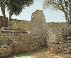 Conical tower and circular wall of Great Zimbabwe. Southeaastern Zimbabwe. Shona peoples. 1000-1400 ce. coursed granite blocks