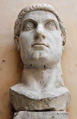 Constantine the Great, 325-326 CE, marble, installed in the Basilica of Maxentius and Constantine, Rome, Late Roman Art (Late Roman Art) Remember Full Body