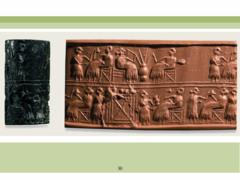 Cylinder Seal of Pu-abi. Sumerian. c. 2600. Lapis lazuli
