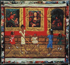Dancing at the Louvre, from the series The French Collection, Part I; 1. Faith Ringgold. 1991 ce. acrylic on canvas tie dyed border