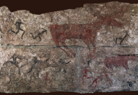 Deer hunt, detail of a wall painting from level III