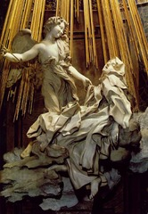 Ecstasy of St. Teresa. Cornaro Chapel. Church of Santa Maria della Vittoria. Rome, Italy. Bernini. 1647-1652. marble: stucco and gilt bronze
