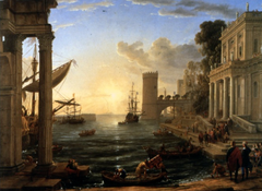 Embarkation of the Queen of Sheba by Claude Lorain, 1648