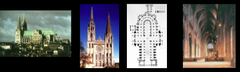 Exterior, interior and plan of Chartres Cathedral, France, 1194-1230 (west façade begun c. 1134) (High Gothic Architecture)
