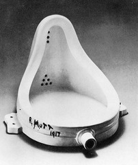 Fountain  Marcel Duchamp. 1950 C.E. (original 1917). Readymade glazed sanitary china with black paint  It was unexpectedly a rather beautiful object in its own right and a blindingly brilliant logical move, check-mating all conventional ideas about art. But it was also a highly successful practical joke.