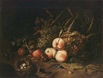 Fruit and Insects Ruysch 1711 oil on wood