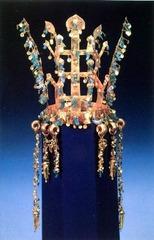 Gold and jade crown. Three Kingdoms Period, Silla Kingdom, Korea. 5th to 6th century ce. metalwork