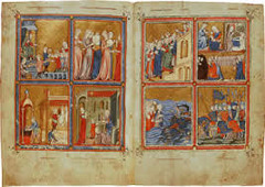 Golden Haggadah(The Plagues of Egypt, scenes of Liberation, and Preparation for Passover). Late medieval. c. 1320 CE.  Form: read top right counter clockwise(except for the passover which is read from bottom left in a clockwise manner). Illuminated manuscript on vellum. variety of pigment colors. Function: used in Jewish households to commemorate Israelites exodus from Egypt. The passover was the night Mosses lead the people Content: Moses initiates multiple plagues upon the Pharaoh and his kingdom. Mosses cause all livestock to die. Last plague was the death of every first born child. Pharaoh freed Jews from slavery. Context: made near or in Barca, the use of a wealthy Jewish family. Written text on vellum pages in Hebrew script. Illustrate stories from Exodus and Genesis