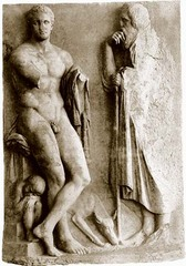grave stele of a young hunter (Late Classical)  (Greece)