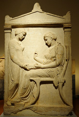 Grave stele of Hegeso  Attributed to Kallimachos. c. 410 B.C.E. Marble and paint In the relief sculpture, the theme is the treatment and portrayal of women in ancient Greek society, which did not allow women an independent life.