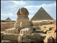 Great Pyramids and Great Sphinx. Giza, Egypt. Old Kingdom, Fourth Dynasty. c. 2550-2490 BCE. Cut limestone.