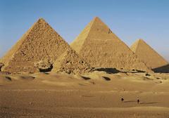 Great Pyramids. Giza, Egypt. Old Kingdom, Fourth dynasty. c. 2550-2490 bce cut limestone