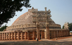 Great Stupa at Sanchi. Madhya Pradesh, India. Buddhist; Maurya, late Sunga Dynasty. 300 bce to 100 ce stone masonry, sandstone on dome