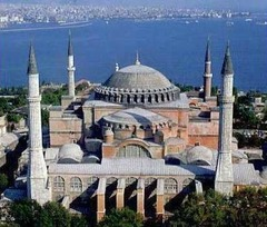 Hagia Sophia Constantinople (Istanbul). Anthemius of Tralles and Isidorus of Miletus. 532-537 ce brick and ceramic elements with stone and mosaic veneer