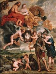 Henri IV Receives the Portrait of Marie de'Medici, from Marie de' Medici cycle, Rubens. 1621-1625/. oil on canvas