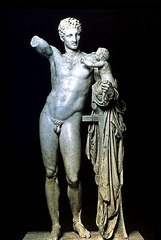 Hermes and the Infant of Dionysos,Praxiteles, from the Temple of Hera, 340 BC, marble, Greek Classical