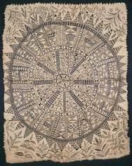 Hiapo (tapa). Niur 1850-1900 ce. tapa or bark cloth, freehand painting