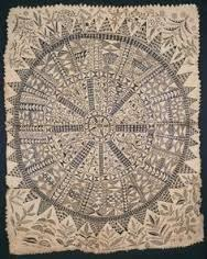 Hiapo (tapa) c. 1850-1900 CE Tapa or bark cloth freehand painting #219  -bark cloth is women's art -inner bark of the paper mulberry tree -patterns could be applied with stamps -rubbed and stained w/ design tablets -traditionally used for clothing -ceremonially at weddings or birthdays -wrapped around sacred deities -stopped being produced in late 19th century -unique Niuan design