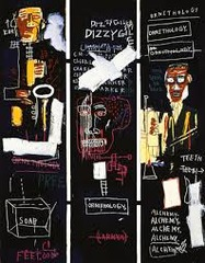 Horn Players. Jean-Michel Basquiat. 1983 ce. Acrylic and oil paintstick on 3 panels