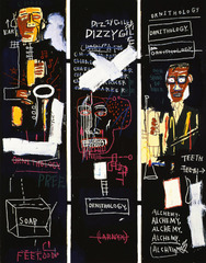 Horn Players Jean-Michel Basquiat. 1983 C.E. Acrylic and oil paintstick on three canvas panels Honed his signature painting style of obsessive scribbling, elusive symbols and diagrams, and mask-and-skull imagery by the time he was 20.