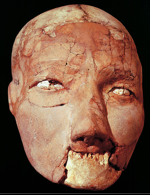 Human skull with restored features, from Jericho