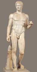 ID: Doryphoros(spear bearer). Ancient Mediterranean. Polykleitos. 450-440 BCE. Roman copy marble of Greek original bronze Form: OG made out of bronze, but was lost and made out of marble Function: Roman palaestras where individuals exercised an inspiration  Content: used to hold a spear, ex. of