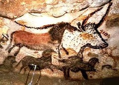 ID: Hall of Bulls. Lascaux, France. 16,000-14,000 BCE. Medium: rock painting Form: charcoal + orchard Function: depiction of time Content: Theranthrope, animals important for there culture Context: one of the oldest pieces of art