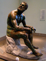 ID: Seated Boxer. Hellenistic Greek. c. 100 BCE. bronze Form: greek hellenistic sculpture, bronze, lost wax casting, hollow, inalid parts of copper in face Function: interest in pathos made from traditional noble strong figures, wounds made people connect Content: traditional, ideal, beautiful, nude, young, torso collapsing Context: strong powerful old man yet defeated, sense of humility and humality not seen before