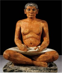 ID: Seated Scribe. Saggara, Egypt. 2620-2500 BCE Form: made of limestone painted with red and black oaker, naturalistic, fat might signify wealth. Iris made of rock crystal, eye surrounded by copper Function: located in tomb to assist in afterlife, believed that old Egyptian people were alive Context: made between 2620-2500 BCE 4 th dynasty, in old kingdom. Necropolis at Saggara Content: scribes important to society, wearing a kilt, meant for afterlife