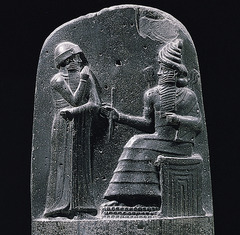 ID: The Code of Hammurabi. Ancient Mediterranean. Babylon(Iran). Susian. 1792-1750 BCE. Basalt Form: polished, 6ft, Basalt Function: illustrate hammurabi code to public Content: Hammurabi(left) and Shamash, sun god, (right) Context: 282 laws of order and punishment