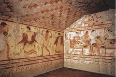 ID: Tomb of the Triclinium. Ancient Mediterranean. Tarquinia, Italy. Etruscan. C 480-470 BCE. Tufa and fresco. Form: single chamber, fresco Function: celebrate the dead, reinforce socio-economic Content: shows wealthy people celebrating the dead Context: transition of culture, celebration of the dead