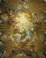 Il Gesu, ceiling. Rome, Italy. Gaulli. 16th century