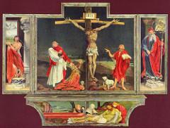 Isenheim altarpiece. Grunewald. 1512-1516. closed. oil on wood