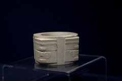 Jade cong. Liangzhu, China. 3300-2200 B.C.E. Carved jade.
