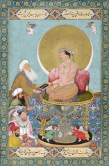 Jahangir Preferring a Sufi Shaikh  Bichitr. c. 1620 C.E. Watercolor gold, and ink on paper Jahangir's artists begin to create allegorical portraits with symbolic references. This painting, for example, asserts that Jahangir favors the spiritual over the worldly. He hands a book, the most respected of objects in both Islam and the Mughal court, to a Sufi shaykh (a religious scholar). Below (and therefore implicitly less important than) the shaykh stand an Ottoman sultan and King James I of England. Bichitr's self-portrait in the lower left corner conveys the respect that Jahangir accorded to painters.