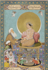 Jahangir Preferring a sufi sheikh to kings. Bichitr. 1620 ce. watercolor, gold and ink on paper