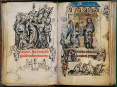 Jean Pucelle, Kiss of Judas and Annunuciation, Book of Hours of Jeanne d'Evreux (Gothic art, 1150-1400)