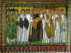 Justinian and Attendants, c.547, mosaic,Byzantine Art