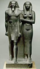 King Mendaura and queen. Old Kingdom, fourth dynasty. c. 2490- 2472 bce. greywacke