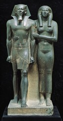King Menkaura and queen. Old Kingdom, Fourth Dynasty. c. 2490-2472 B.C.E. Greywacke.